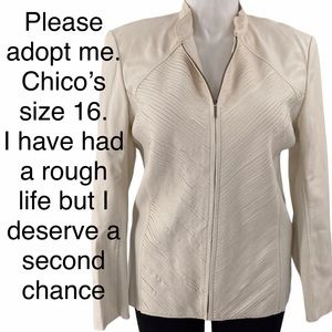 Chico's size 16 faux leather beat to heck jacket